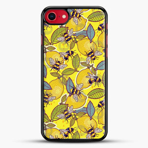 Yellow Lemon And Bee Garden iPhone 8 Case, Black Rubber Case | JoeYellow.com