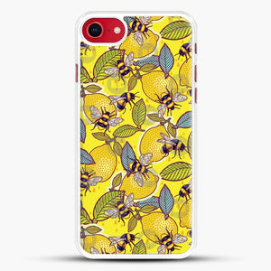 Yellow Lemon And Bee Garden iPhone 8 Case, White Rubber Case | JoeYellow.com
