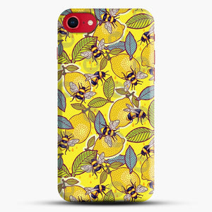 Yellow Lemon And Bee Garden iPhone 8 Case, Black Snap 3D Case | JoeYellow.com