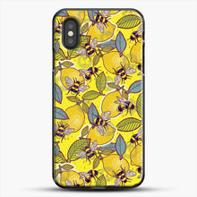 Load image into Gallery viewer, Yellow Lemon And Bee Garden iPhone XS Case, Black Plastic Case | JoeYellow.com