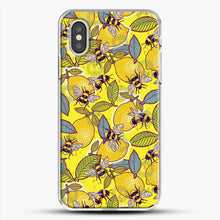 Load image into Gallery viewer, Yellow Lemon And Bee Garden iPhone XS Case, White Plastic Case | JoeYellow.com