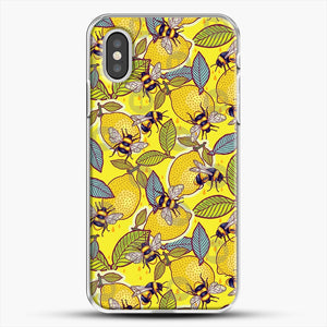Yellow Lemon And Bee Garden iPhone XS Case, White Plastic Case | JoeYellow.com