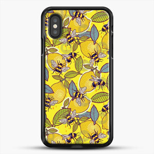 Yellow Lemon And Bee Garden iPhone XS Case, Black Rubber Case | JoeYellow.com