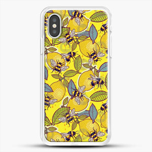 Yellow Lemon And Bee Garden iPhone XS Case, White Rubber Case | JoeYellow.com