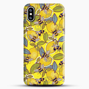 Yellow Lemon And Bee Garden iPhone XS Case, Black Snap 3D Case | JoeYellow.com