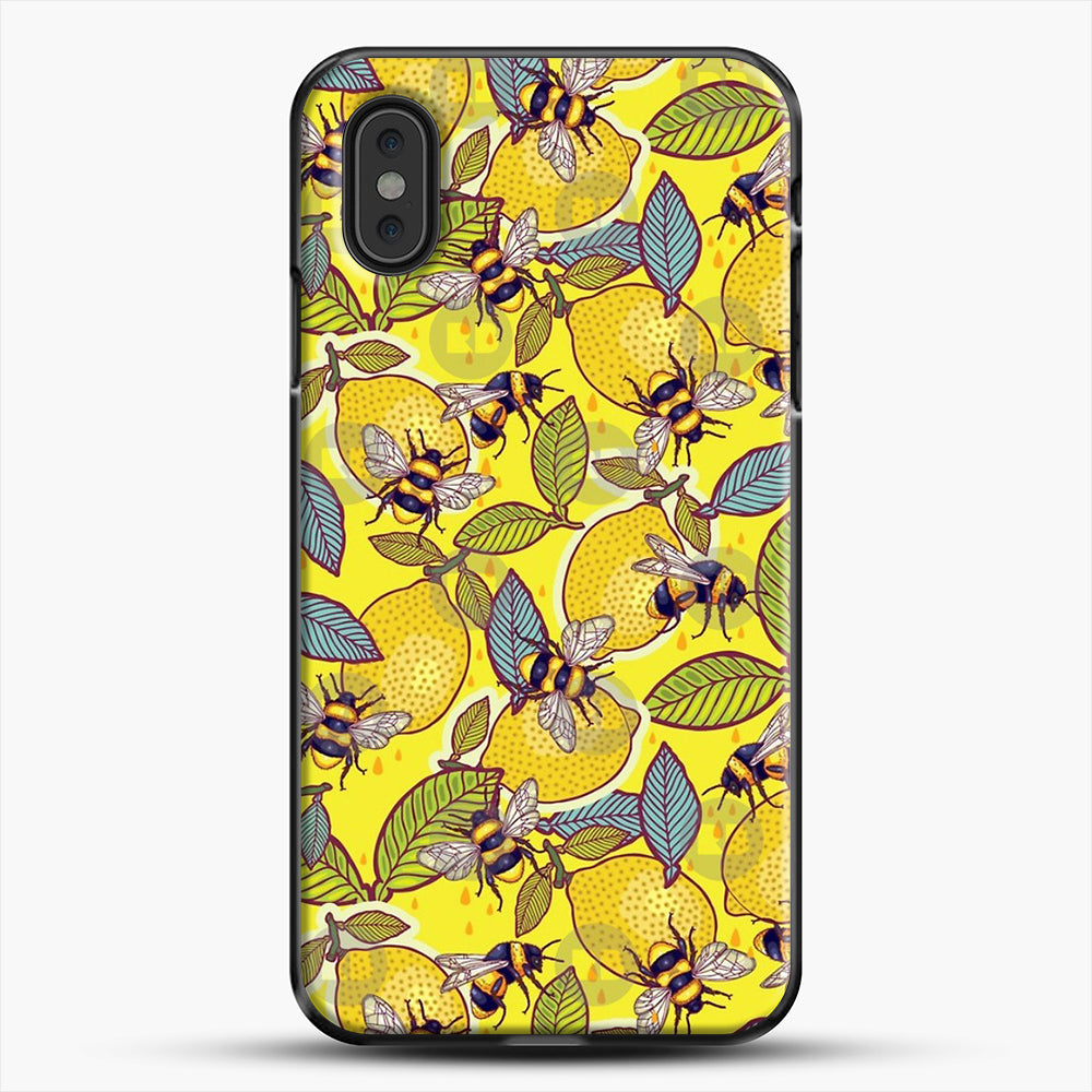 Yellow Lemon And Bee Garden iPhone XS Max Case, Black Plastic Case | JoeYellow.com