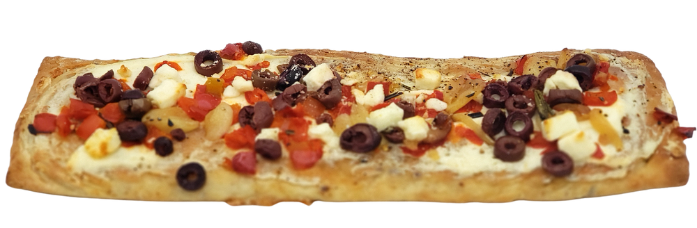 Flatbread with Roasted Red Pepper, Garlic, Feta & Olives