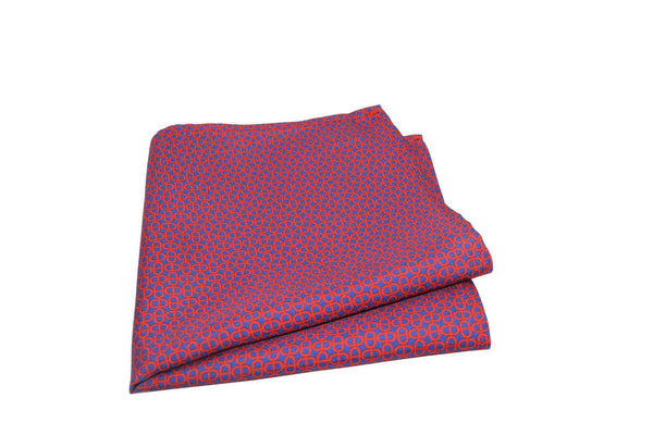 KRAGÜ POCKET SQUARE COUNTLESS STIRRUPS RED BLUE - KRAGÜ GmbH