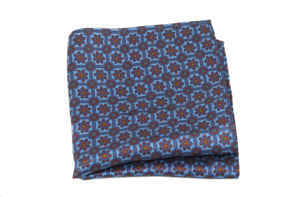 KRAGÜ POCKET SQUARE CYAN SHADE FLOWER - KRAGÜ GmbH