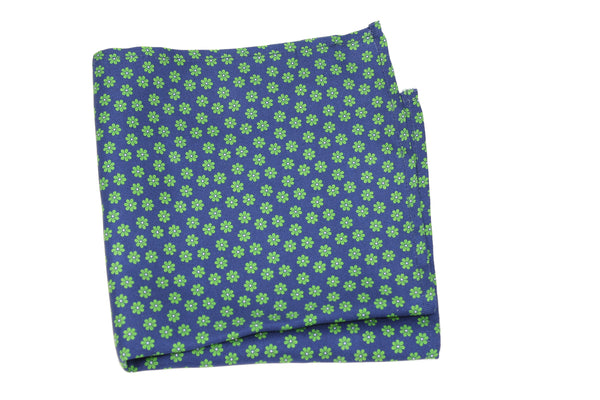 KRAGÜ POCKET SQUARE FLOWER GREEN BLUE - KRAGÜ GmbH