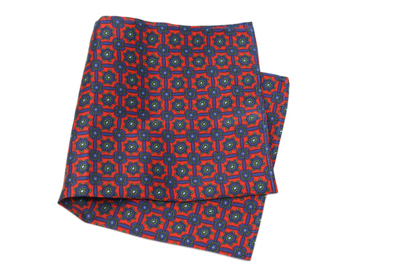 KRAGÜ POCKET SQUARE FLOWER POWER BLUE RED - KRAGÜ GmbH