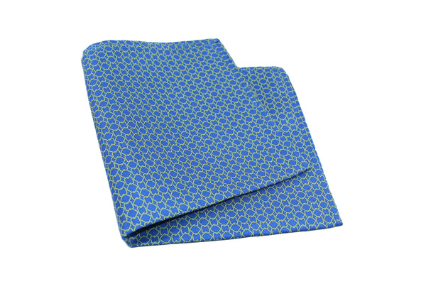 KRAGÜ POCKET SQUARE GREEN STIRRUPS BLUE - KRAGÜ GmbH