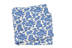 KRAGÜ POCKET SQUARE PAISLEY BLUE ON WHITE - KRAGÜ GmbH