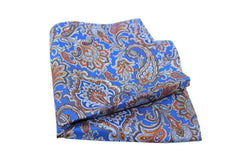 KRAGÜ POCKET SQUARE PAISLEY LEAFS LIGHTBLUE - KRAGÜ GmbH