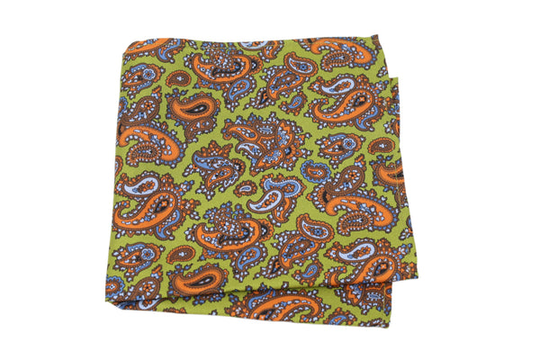 KRAGÜ POCKET SQUARE PAISLEY ORANGE GREEN - KRAGÜ GmbH