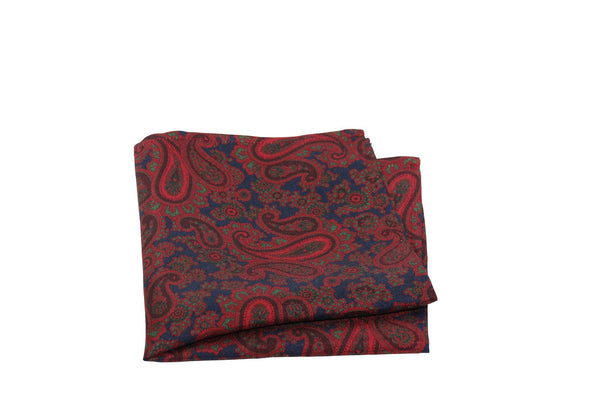 KRAGÜ POCKET SQUARE PAISLEY WINE RED BLUE - KRAGÜ GmbH