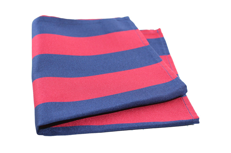 KRAGÜ POCKET SQUARE ROYAL STRIPES RED BLUE - KRAGÜ GmbH