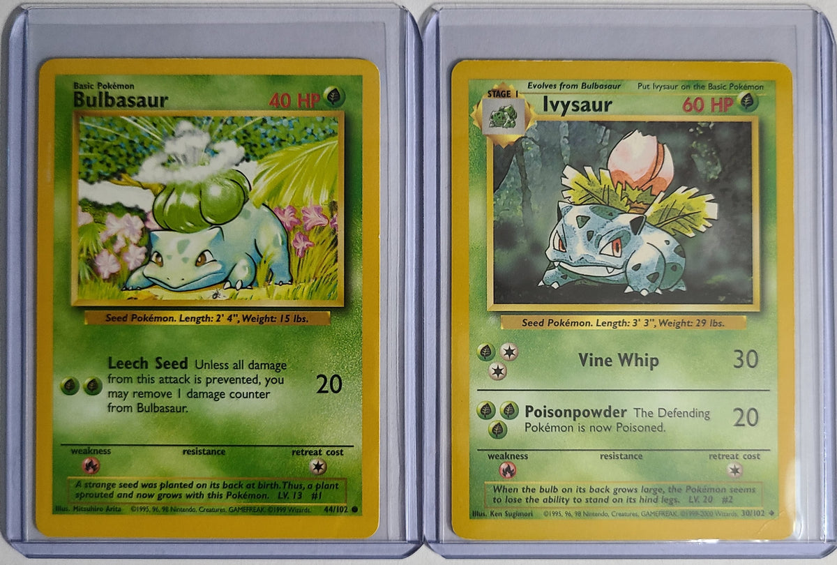 Pokemon Bulbasaur 44/102 Ivysaur 30/102 Combo Base Set Good Condition