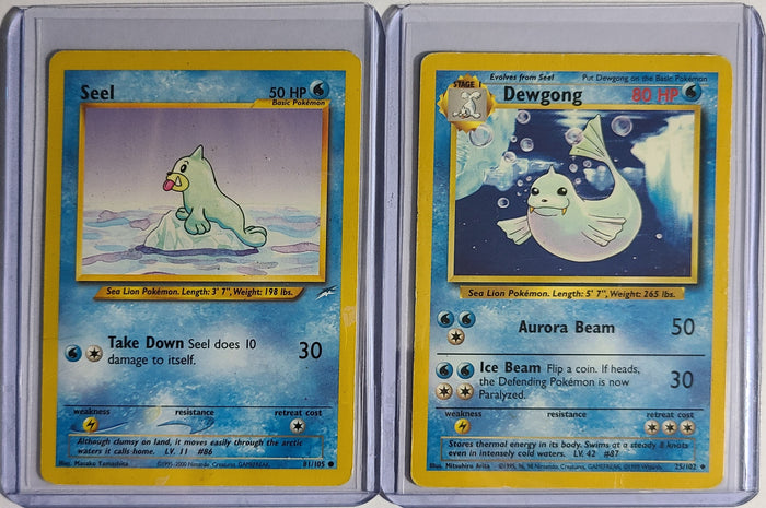 Pokemon Seel 81/105 Dewgong 25/102 Combo Base Set Good Condition