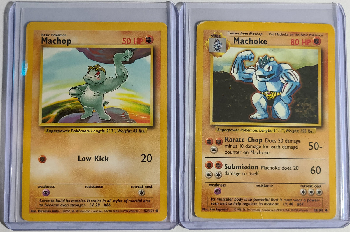 Pokemon Machop 52/102 Machoke 34/102 Base Set Combo Good Condition