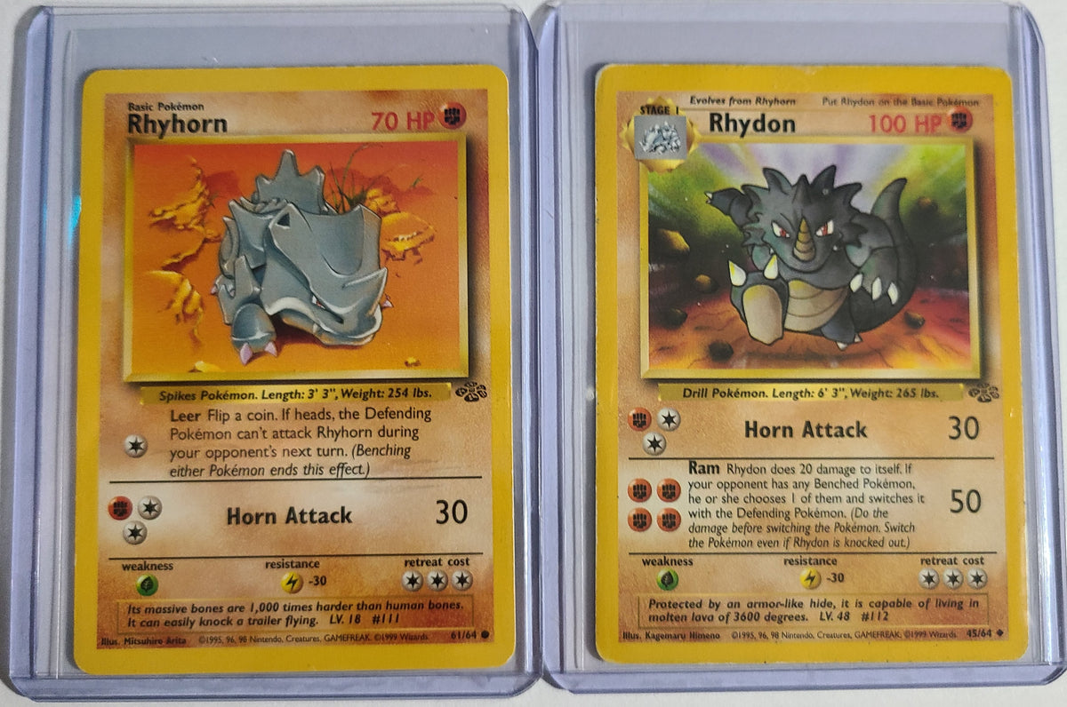 Pokemon Rhyhorn 61/64 Rhydon 45/64 Jungle Set Combo Good Condition