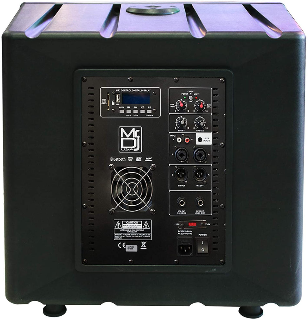 MR DJ PRO-SUB15AMP <br/>15-Inch 5400W Active Self-Powered PA DJ Subwoofer with Bluetooth USB/SD/FM and 2 Speaker Output