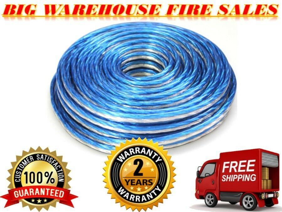 PRO Blue/Silver 25 Ft True 12 Gauge Marine Car, Home Audio Speaker Wire Cable
