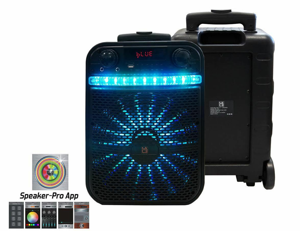 "MR.DJ AXL 10"" PORTABLE SPEAKER WITH BLUETOOTH/RECHARGEABLE BAT w/APP CONTROL"