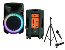 "Load image into Gallery viewer, Mr. Dj OMAHA 15"" 2500W Powered DJ Karaoke Active Speakers Party PA Stands Mic"