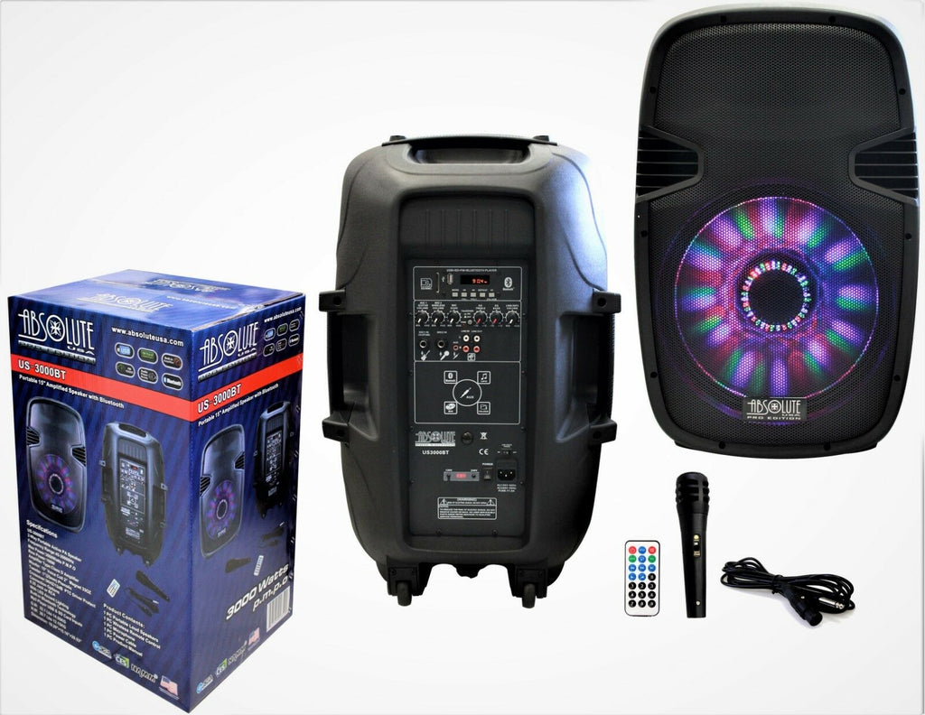 "PRO DJ US3000BT 15"" 2-Way Portable Speaker with LED Built-In Bluetooth, FM Radio"