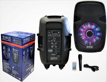 "Load image into Gallery viewer, PRO DJ US3000BT 15"" 2-Way Portable Speaker with LED Built-In Bluetooth, FM Radio"