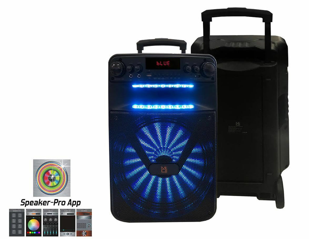 "MR.DJ ART 12"" PORTABLE SPEAKER WITH BLUETOOTH/RECHARGEABLE BAT w/APP CONTROL"