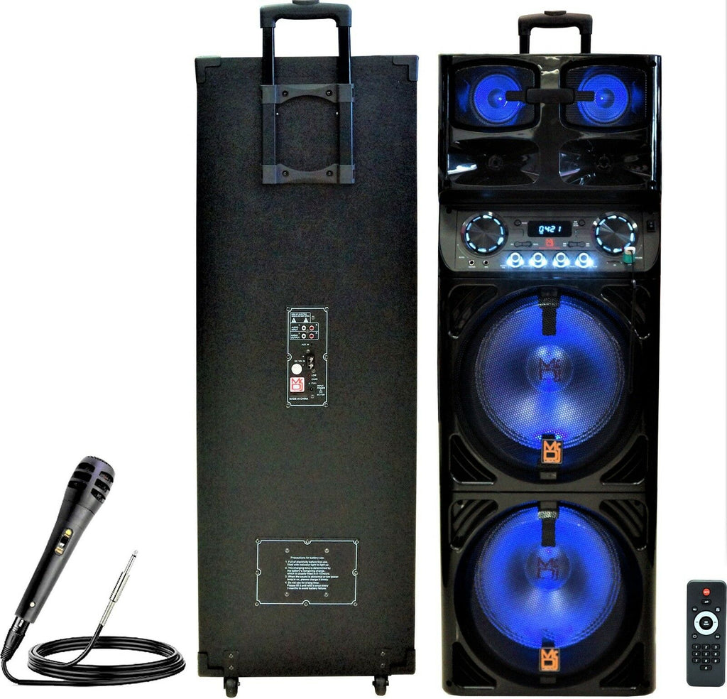 "Mr. Dj SAPPHIRE<br/> 3-Way Dual 12"" Portable Active Speaker, Max Power 5000 Watts"