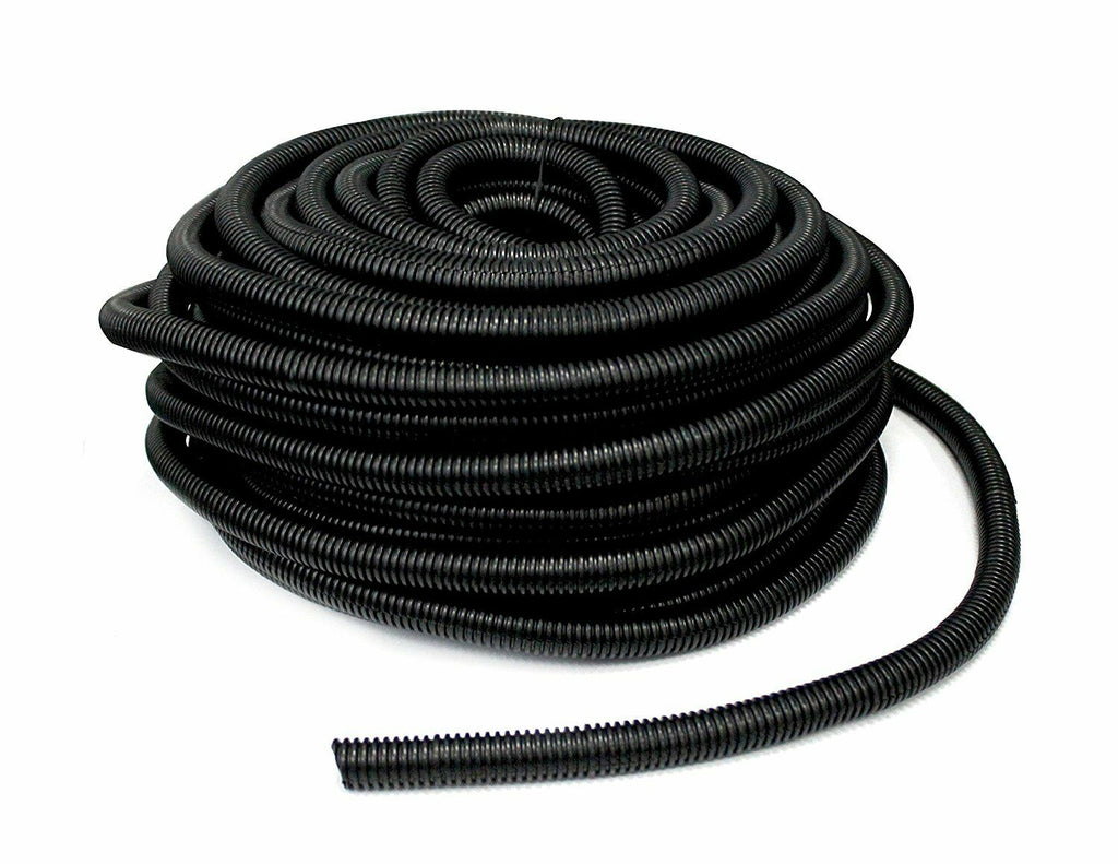"MR DJ SLT14-100 Black Split Loom Tube Tubing 1/4"" 100 Ft Roll"