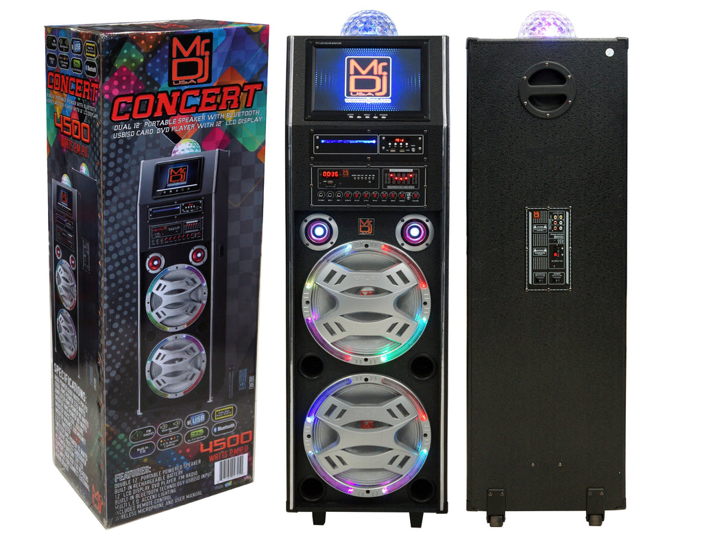 "Mr. Dj Concert 3-Way Dual Portable Active Speaker, Max Power 4500W P.M.P.O, Built-in Rechargeable Battery, 12"" LCD DVD Player Bluetooth Tecnology"