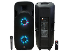 "Load image into Gallery viewer, Mr. Dj LETS JUMP 3-Way Dual 15"" Portable Active Full Range Speaker, 5000 Watts P.M.P.O"