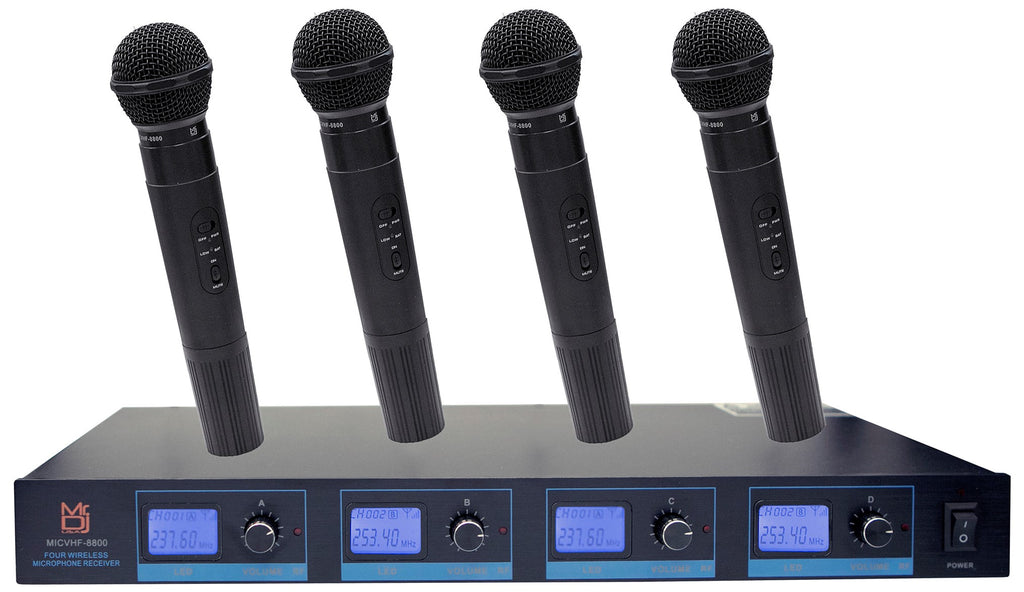 Mr Dj MICVHF-8800<br/> 4 Channel Professional PA/DJ/KTV/Karaoke VHF Handheld Wireless Microphone System with Digital Receiver