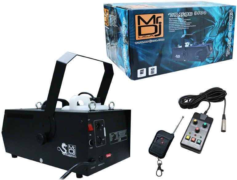 MR DJ DRAGON3500<BR/> 3500W fog smoke machine with wire & wireless remote & fog fluid, quick heat-up thick fog with Adjustable Head Angle