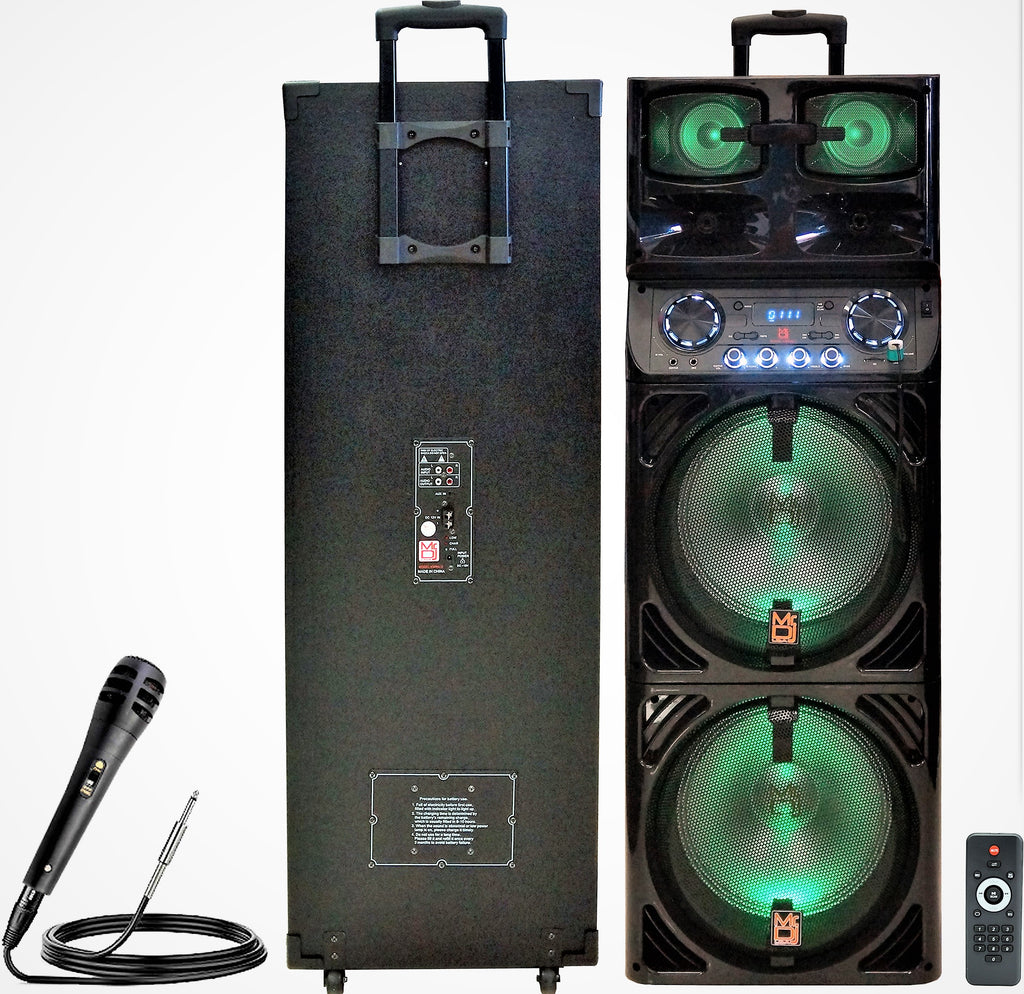 "Mr. Dj EMERALD<br/> 3-Way Dual 12"" Portable Active Speaker, Max Power 5000 Watts"