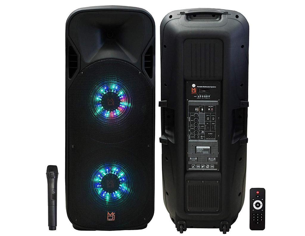 "MR DJ Lets Jump<br>Dual 15"" 3Way 5000W DJ Active Speaker Powered PA Party BT USB Speaker MIC"