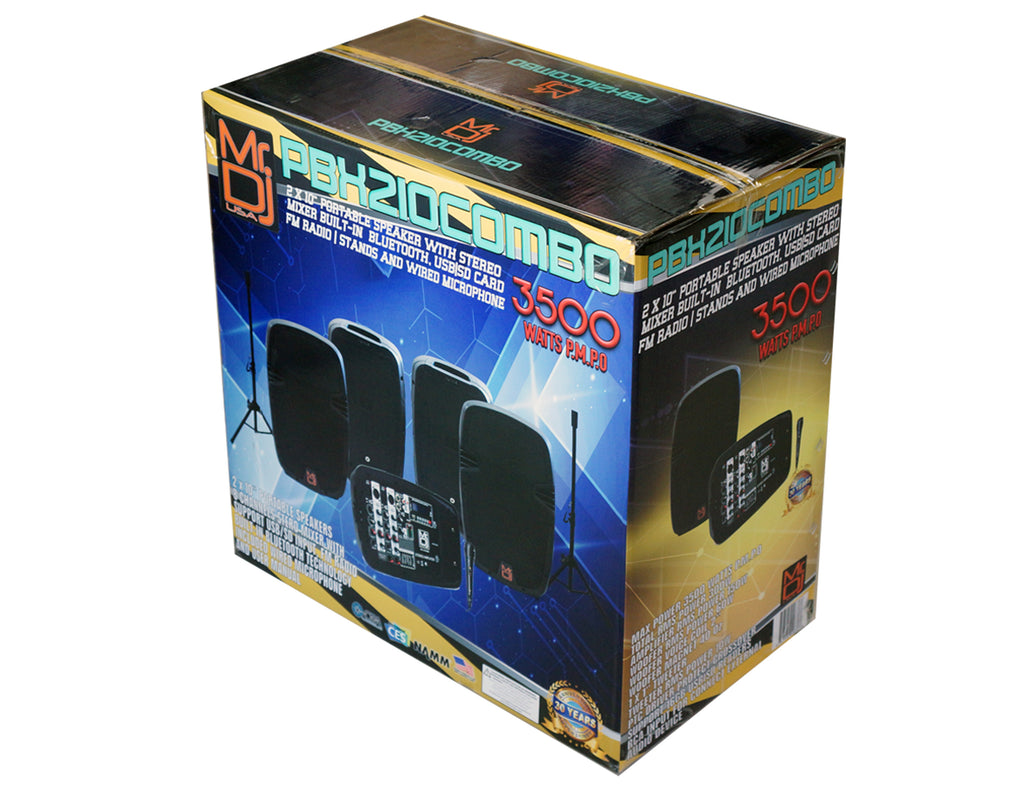 "MR DJ PBX210COMBO Bluetooth Speaker<br/>Portable all in One Personal PA/DJ KTV System 2X 10"" 3000W Bluetooth Active Speaker with Detachable Mixer & Stands"