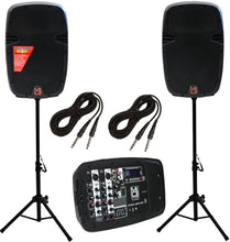 "Load image into Gallery viewer, MR DJ PBX210COMBO Bluetooth Speaker<br/>Portable all in One Personal PA/DJ KTV System 2X 10"" 3000W Bluetooth Active Speaker with Detachable Mixer & Stands"