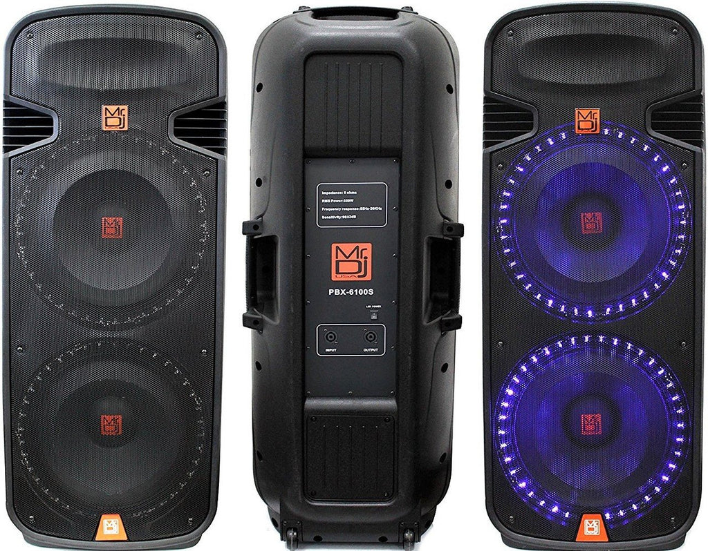 Mr Dj Pbx6100s<Br/>Professional Dual 15 Inch Passive 5000 Watts Pa/Dj Abs Cabinet With Built-In Accent Led Light