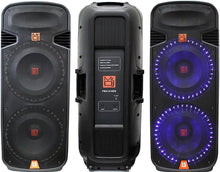Load image into Gallery viewer, Mr Dj Pbx6100s<Br/>Professional Dual 15 Inch Passive 5000 Watts Pa/Dj Abs Cabinet With Built-In Accent Led Light