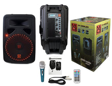 "Load image into Gallery viewer, Mr Dj PP3500LED <Br/>Portable 15"" 2 Way Active Speaker W/Bluetooth/ Sd/ Usb/ Fm/ Led & Karaoke Mic"