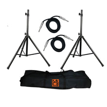 "Load image into Gallery viewer, MR DJ SS750PKG <br/>2 Universal Heavy-Duty Pro Black Folding Tripod DJ PA Home On Stage Speaker Light Stand with Carrying Bag and 1/4"" Cable"