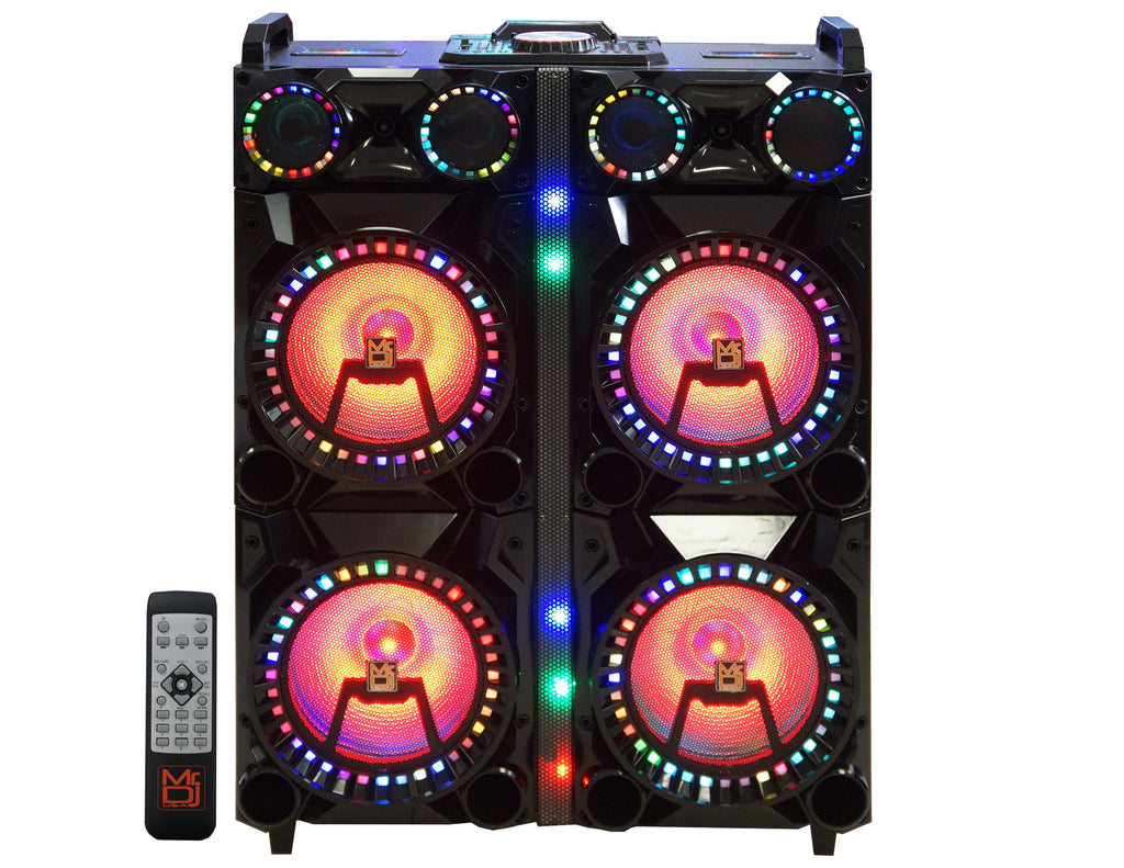 "Mr. Dj XQUAD 4 12"" 12"" 6000 Watts P.M.P.O speaker with built-in Bluetooth, LCD/MP3/USB/micro SD slot"