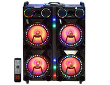 "Load image into Gallery viewer, Mr. Dj XQUAD 4 12"" 12"" 6000 Watts P.M.P.O speaker with built-in Bluetooth, LCD/MP3/USB/micro SD slot"