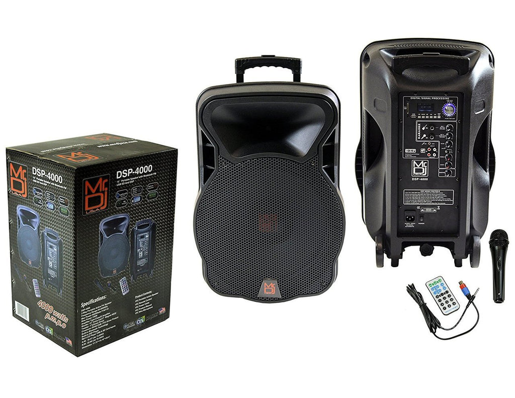 "MR DJ DSP4000 <BR/>15"" 2 Way Portable Speaker with Bluetooth, FM Radio, USB/SD & DSP Player Technology"