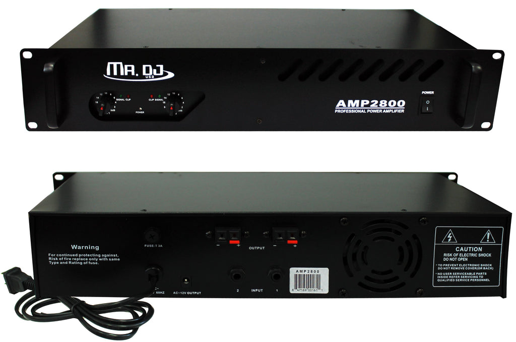 MR DJ AMP2800<BR/> 800W MAX, 2-channel 300 watts RMS bridgeable dynamic series PA DJ power amplifier